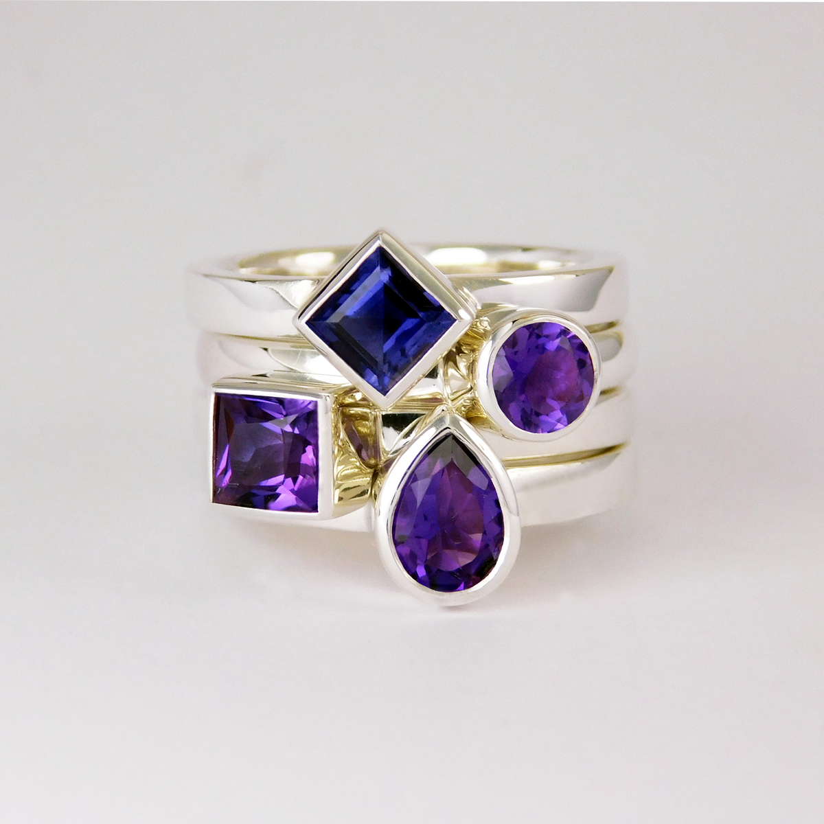 February Amethyst Stack rings