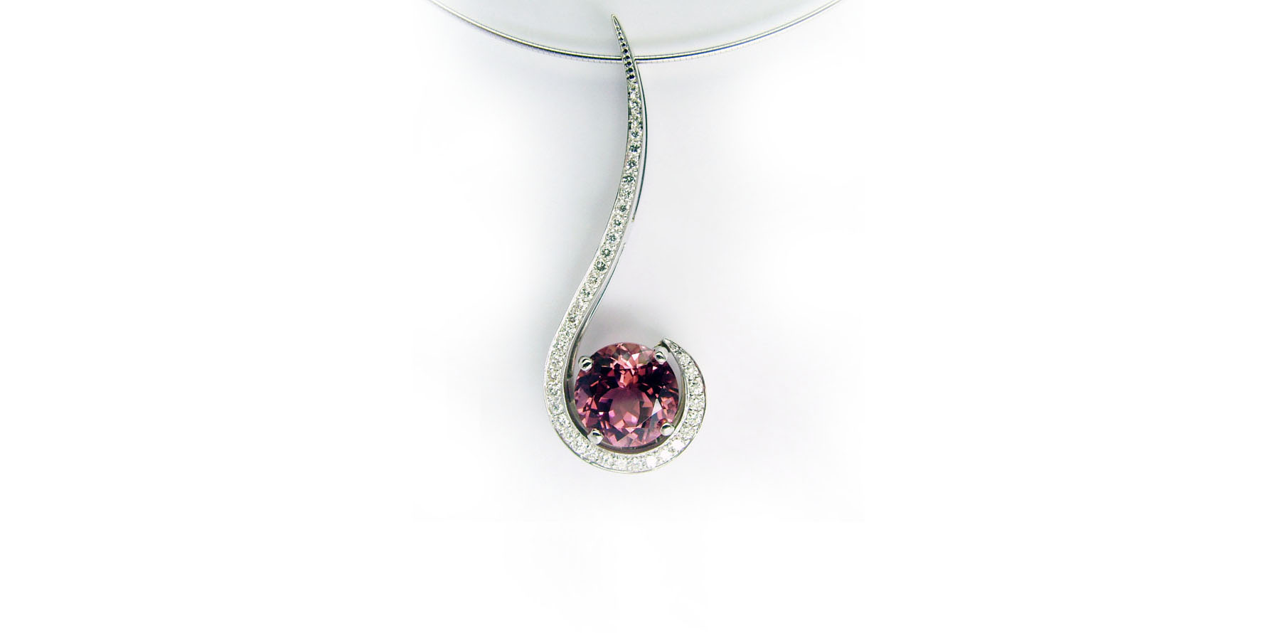 Pink Tourmaline & Diamond Pendant