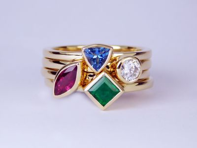 Family Birthstone Stack Rings