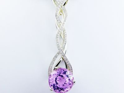 Kunzite and Diamond Cascade Pendant