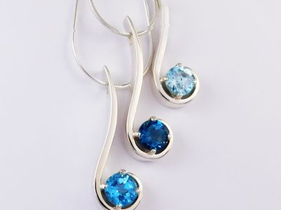 Blue Topaz Signature Pendants